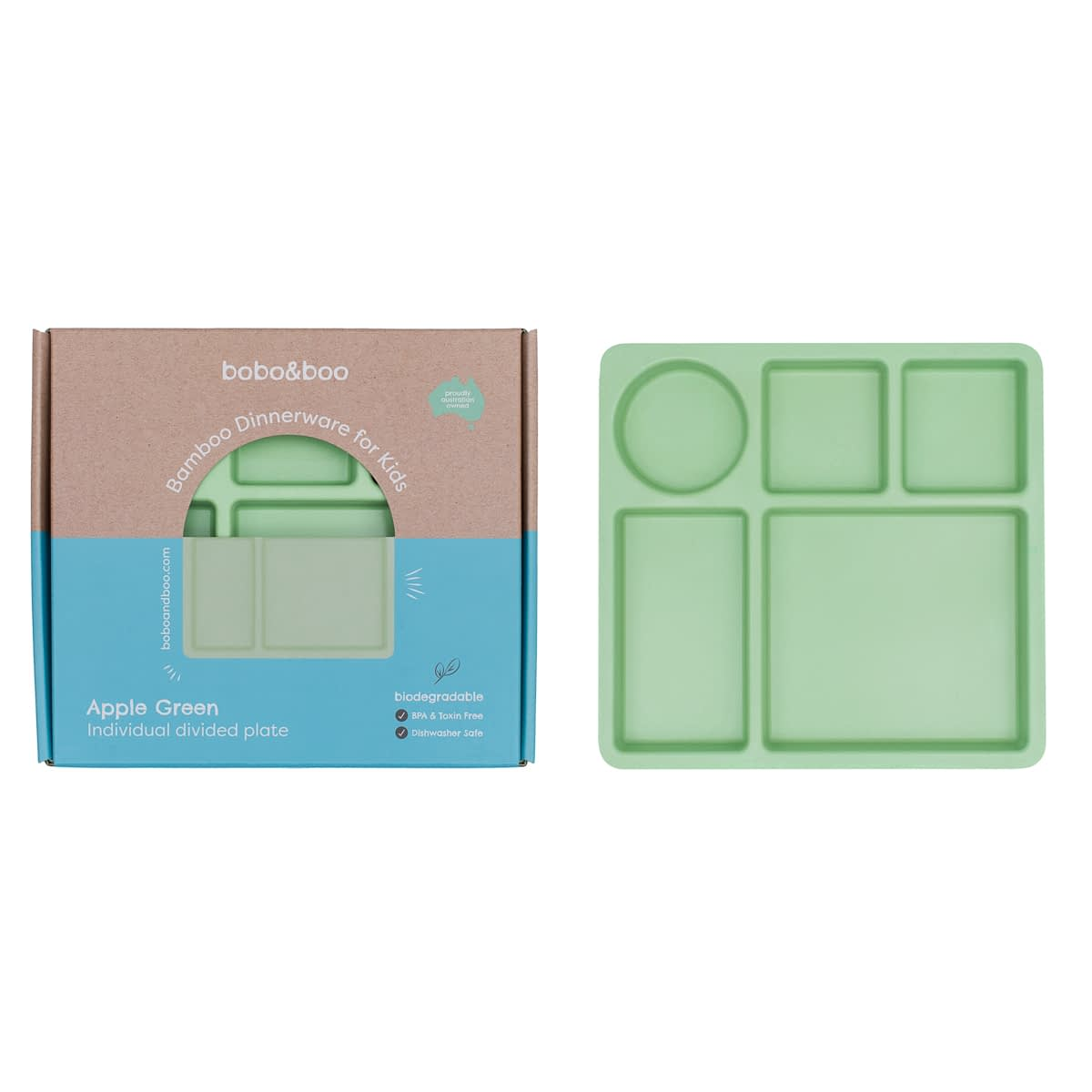 Bobo&boo Divided Plate in Apple Green