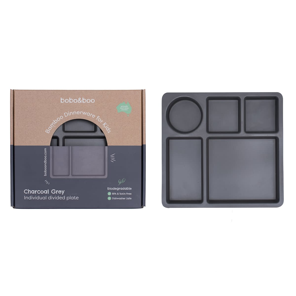 Bamboo Divided Plate Charcoal Grey